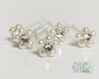 wedding hair pins   bridal hair pins set   freshwater pearl hair accessory   silver hairpins   bridal hairpin set   pearl hairpins ivory