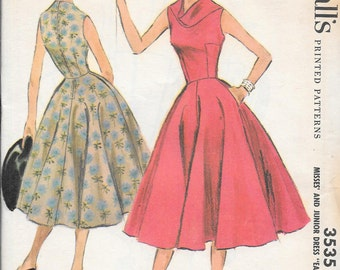 Vintage 1950s McCall's Sewing Pattern 3535 - Misses' Dress size 13 bust 31