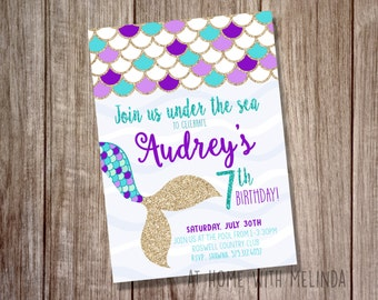 Mermaid Birthday Invitation, Mermaid Invitation, Birthday Party, Under the Sea, Purple and Teal, Mermaid, 5x7 DIGITAL FILE ONLY