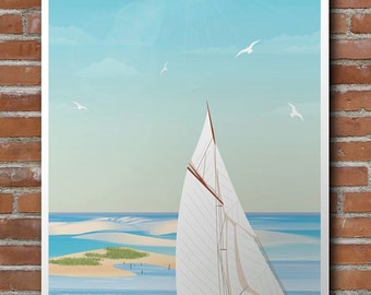 Illustrated poster sailboat on the banc D'arguin / boat