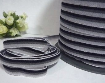 Black / Gray Ombre Itermission Color Velvet Ribbon Trim Craft Wrap 3/8 inch / 9mm width W62