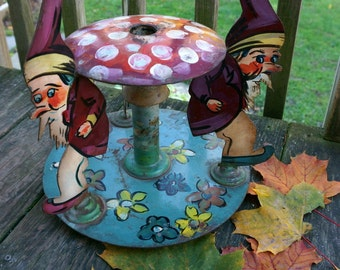 Rare Antique Hand Painted Gnome Tree Stand