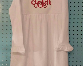 Girls White Long Sleeve Empire Waist Ruffle Dress with Red Interlocking Monogram Other Dress colors available