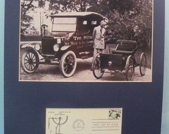 Henry Ford  introduces  the Model T Ford and the Assemby Line and his Quadricycle and First day Cover of his own stamp