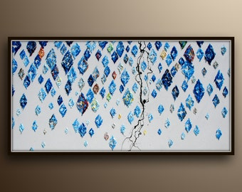 """Abstract Painting 60"""" oil painting of blue Diamonds, thick oil layers, Extremely unique, calming painting, Lots Texture, By Koby Feldmos"""