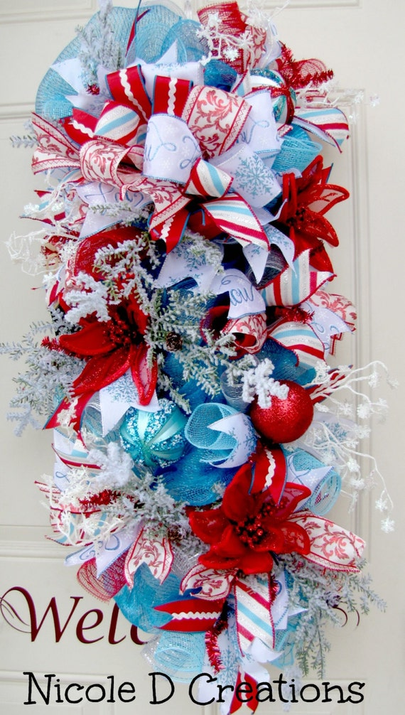 Blue White And Red Swag Poinsettia Wreath Snow Ice Snowflake