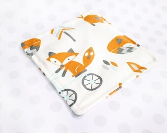 Baby Crinkle Paper Toy, Teething Toy, Sensory Baby Toy, Crinkle Paper Lovie, Foxes, Bicycle
