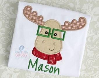 Boys Christmas Moose Applique Shirt - Winter - Holiday - Reindeer