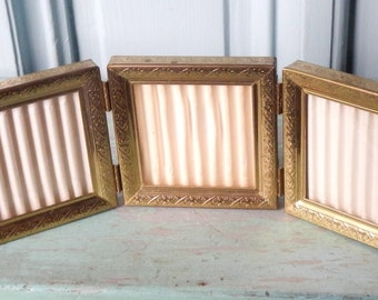 Vintage Triple Gold Metal Photo Frame!