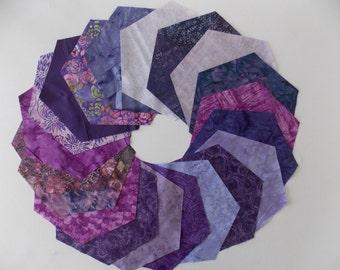 Purple Batik Fabric 30 Piece 5 3/4 Inch Hexagon Quilt Fabric AccuQuilt Studios Die Cut High Quality Cotton