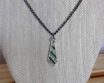 Slytherin House Tie Pendant Necklace, Harry Potter Necklace, Slytherin House Pride
