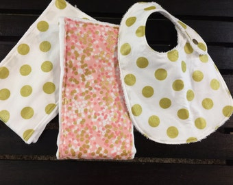 Baby girl burp cloth and bib set in Michael Miller Brambleberry Ridge shimmer reflection and gold glitz dots