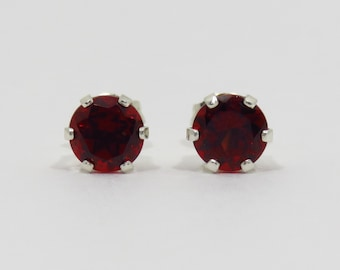 Genuine Garnet Stud Earrings, Sterling Silver, 6 mm, Natural Garnet Earrings, January Birthstone, Red Gemstone Studs