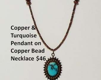 Turquoise and Copper Pendant on Copper Necklace