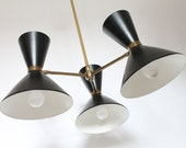 OTTO KOLB DIABOLO  hourglass 6 light 3 arm chandelier mid century vintage 1950 era