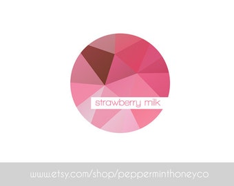 STRAWBERRY MILK LOGO Pink Girly Geometric Poly Shapes Ombre Feminine Branding Photography Business Blog Boutique Brand