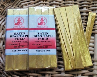 3 pack - Metallic Gold bias binding tape, trims and sewing supplies
