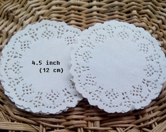 Pack of 50 sheets - 4.5 inch small white paper doilies