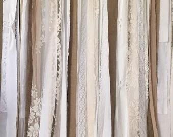 Burlap Lace Curtain 6u0027 ~ Shabby Burlap Garland, Long ~ Rustic Wedding  Garland Backdrop