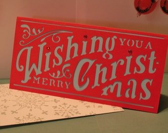 wishing you a merry christmas card, greeting card, holiday card, christmas card