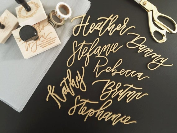 Custom laser cut calligraphy place settings