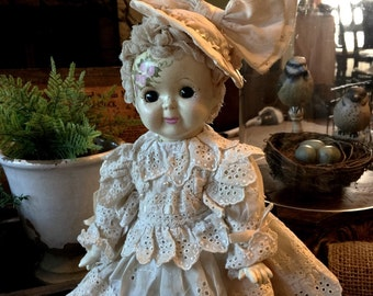 """Hand Painted Vintage Bisque Doll """"Lizzy"""" Adorable!"""