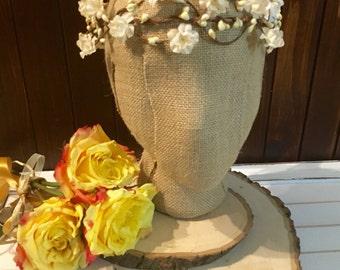 Boho woodland flower Crown floral wedding accessory white baby's breath Flower crown Bridal crown Floral headband bridesmaid flower crown