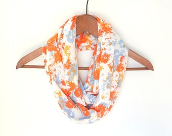 Orange Infinity Scarf, Ladies Scarf, Spring Scarf, Floral Scarf, Mother's Day Gift