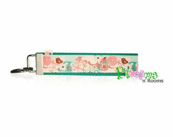 Flowers and birds wrist key chain key fob wristlet