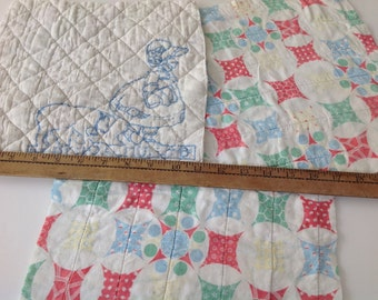 Vintage quilt pieces for reworking projects nursery colours patchwork cushion front