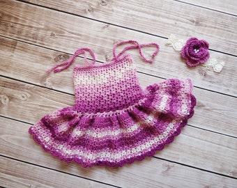 Baby Dress, Baby Girl Dress, Newborn Dress Photo Prop, Baby Knit Dress, Girl Dress, Baby Boy Hat, Earflap Baby Hat, photo prop baby hat