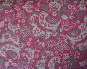 Floral Scroll Pink & Gray Flannel Fabric Sold by the Yard