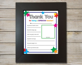 End of School Teacher Form - Instant Download - Teacher Questionnaire - End of School Teacher Gift - Teacher Gift - Teacher Appreciation
