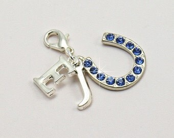 Something Blue Horseshoe Charm with Bride and Groom's Initials