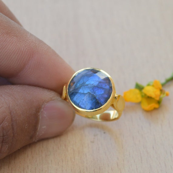 Round faceted Labradorite Ring - Yellow Gold Overlay Ring - Ring Size 6 - 925 Sterling Silver - Designer Labradorite Ring Size 6