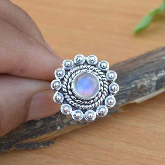 AAA Rainbow Moonstone Gemstone Ring, Moonstone Ring, Solid 925 Sterling Silver Ring, June Birthstone Ring, Classic Gift Ring Size 6.75