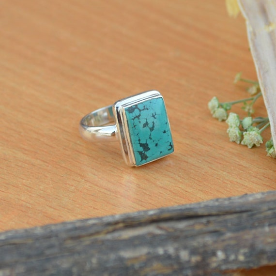 Tibetan Turquoise Ring, Turquoise Gemstone Ring, 925 Sterling Silver Ring, Cushion Green Ring Size 8, Turquoise Gemstone Ring