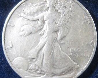 USA Silver Coin, 1937 Walking Liberty Coin, Silver Half Dollar Coin, Collectible 50 Cent Silver Coin, Silver 50 Cent Coin, San Fancisco Mint