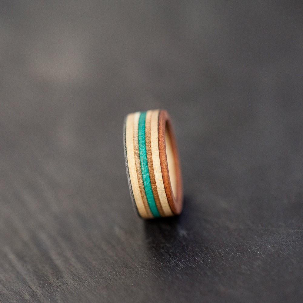 Skateboard Ring Wooden Ring Wedding Ring Recycled Ring