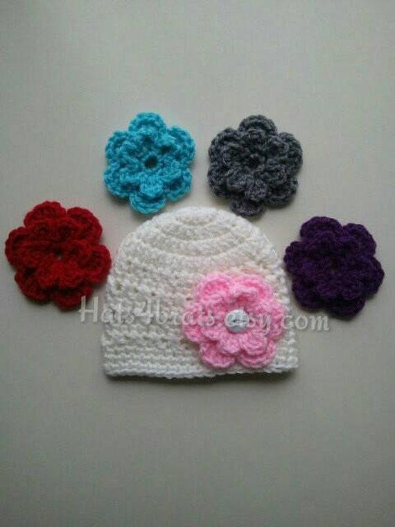 Baby Hat Crochet Interchangeable Flower Hat Baby Girl Hat
