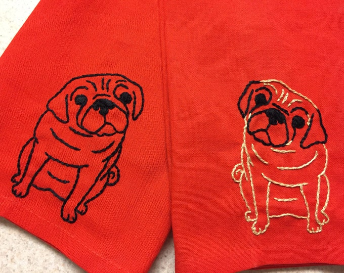 Featured listing image: Hand embroidered dog-themed tea towel
