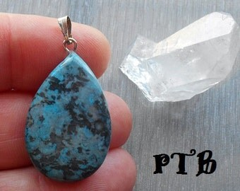"""Stability ~ Authentic Natural Blue Crazy Lace Agate Gemstone 1 1/2"""" Pendant 18K White Gold Plated"""