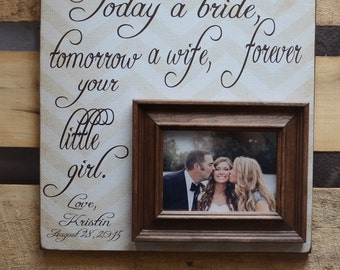 Mother of the Bride Gift Personalized Picture Frame, Wedding Gift for Parents, Parent Thank You Gift Wedding, 16x16