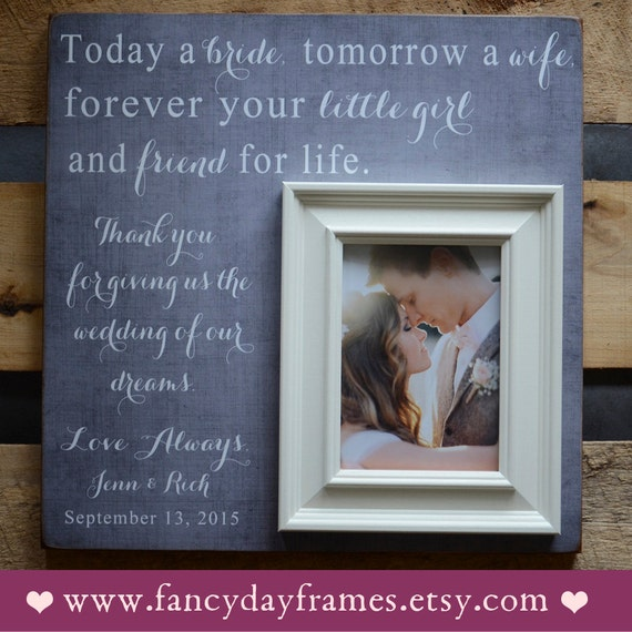 Parent Wedding Gift, Brides Parents, Mother of Bride, Today a Bride ...