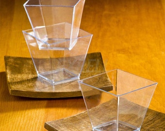 24 Pack - Clear Petite Square 2oz Disposable Elegant Square Mini Clear Tasting Sample Shot Glasses Dessert Cups FREE SHIPPING