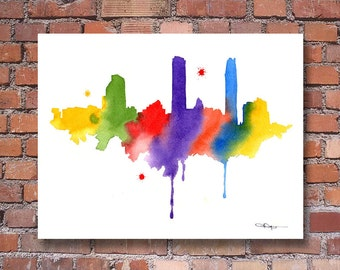 Santiago Skyline - Abstract Watercolor - Chili Art Print - Wall Decor
