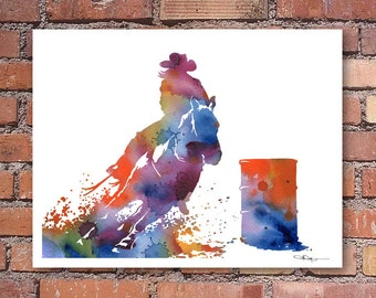 Barrel Rider Art Print - Rodeo Art - Abstract Watercolor Painting - Wall Decor