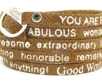 Good Work(s) Mosaic You Are Beautiful Wrap Around Leather Bracelet - Tan