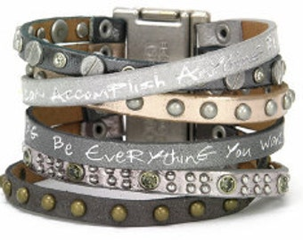 Good Work(s) Mineral Come Together Believe You Can Leather Cuff - Silver/Gray
