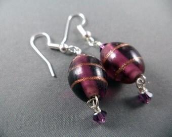 Lampwork Glass Bead with Swarovski Crystal Dangle Earrings